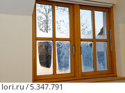 Вид из окна на зимний солнечный вечер. Стоковое фото, фотограф Татьяна Кахилл / Фотобанк Лори
