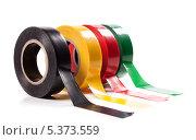 Четыре разноцветных катушки с изоляционной лентой, на белом фоне. Стоковое фото, фотограф Стебловский Александр / Фотобанк Лори