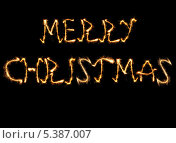 """Огненная надпись """"Merry Christmas"""" на черном фоне. Стоковая иллюстрация, иллюстратор Александр Заболотный / Фотобанк Лори"""