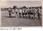 Купить «Футбольная команда, 1950-е годы», фото № 5387491, снято 26 мая 2019 г. (c) Илюхина Наталья / Фотобанк Лори