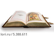 Купить «Раскрытое старое православное Евангелие в кожаном переплете на белом фоне», фото № 5388611, снято 14 декабря 2013 г. (c) Александр Носков / Фотобанк Лори