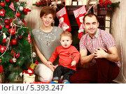 Купить «Счастливая семья с маленьким сыном празднует Новый год дома у новогодней елки», эксклюзивное фото № 5393247, снято 13 декабря 2013 г. (c) Яна Королёва / Фотобанк Лори