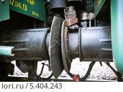 Соединение железнодорожных вагонов. Стоковое фото, фотограф Александр Носков / Фотобанк Лори
