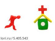 Красный пластилиновый человечек бежит в пластилиновую аптеку на белом фоне. Стоковое фото, фотограф Anhelina Tarasenko / Фотобанк Лори