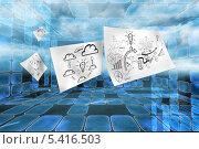 Купить «Sheets with graphics on futuristic background», фото № 5416503, снято 30 марта 2020 г. (c) Wavebreak Media / Фотобанк Лори
