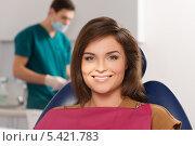 Купить «Молодая красивая женщина на приеме у стоматолога», фото № 5421783, снято 6 ноября 2013 г. (c) Andrejs Pidjass / Фотобанк Лори
