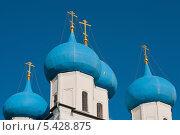 Купить «Город Серпухов. Купола храма в Высоцком мужском монастыре на фоне неба», эксклюзивное фото № 5428875, снято 17 мая 2013 г. (c) Игорь Низов / Фотобанк Лори