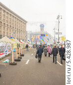 Купить «Протестующие перекрыли главную улицу Киева», фото № 5428987, снято 19 декабря 2013 г. (c) Алексей Сергеев / Фотобанк Лори