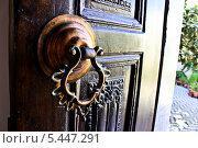 Красивая дверная ручка в Греции (2013 год). Стоковое фото, фотограф Анна Павлова / Фотобанк Лори