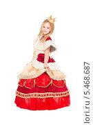 Купить «Маленькая девочка в костюме королевы на белом фоне», фото № 5468687, снято 8 ноября 2013 г. (c) Сергей Сухоруков / Фотобанк Лори