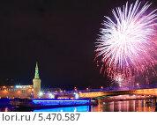 Купить «Новогодний салют над Московским Кремлём», эксклюзивное фото № 5470587, снято 1 января 2014 г. (c) Алёшина Оксана / Фотобанк Лори