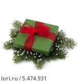 Купить «Зеленая подарочная коробка с красным бантом на еловых ветках», фото № 5474931, снято 27 июня 2011 г. (c) Natalja Stotika / Фотобанк Лори