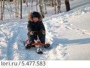Купить «Ребенок на снегокат катается с горы», фото № 5477583, снято 26 марта 2013 г. (c) Андрей Горбачев / Фотобанк Лори