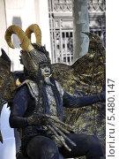Купить «Живая скульптура на бульваре Рамбла. Барселона. Испания», фото № 5480147, снято 1 сентября 2013 г. (c) Лада Иванова / Фотобанк Лори