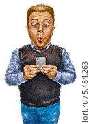 Парень с телефоном. Редакционная иллюстрация, иллюстратор Марк Назаров / Фотобанк Лори