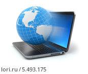 Земной шар на открытом ноутбуке. Стоковая иллюстрация, иллюстратор Maksym Yemelyanov / Фотобанк Лори