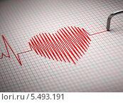Купить «ЭКГ. Электрокардиограмма в виде сердца», иллюстрация № 5493191 (c) Maksym Yemelyanov / Фотобанк Лори
