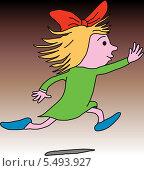 Бегущая девочка. Стоковая иллюстрация, иллюстратор Bakhtiyor Kakharov / Фотобанк Лори