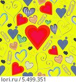 Купить «Желтый бесшовный фон с сердцами», фото № 5499351, снято 19 ноября 2013 г. (c) Наталья Спиридонова / Фотобанк Лори