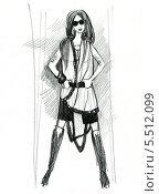 Карандашный рисунок девушки. Стоковая иллюстрация, иллюстратор Гузель Гайсина / Фотобанк Лори