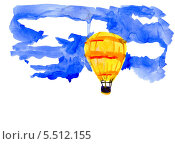 Аэростат летит в небо. Стоковая иллюстрация, иллюстратор Гузель Гайсина / Фотобанк Лори