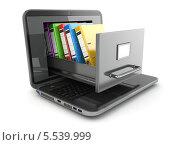 Купить «Хранение данных. Ноутбук и картотека», иллюстрация № 5539999 (c) Maksym Yemelyanov / Фотобанк Лори