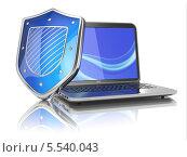 Купить «Ноутбук и синий щит», иллюстрация № 5540043 (c) Maksym Yemelyanov / Фотобанк Лори