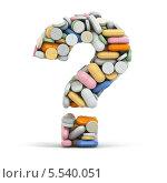 Купить «Знак вопроса из разноцветных таблеток на белом фоне», иллюстрация № 5540051 (c) Maksym Yemelyanov / Фотобанк Лори