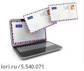 Купить «Электронная почта. Конверты летят из экрана ноутбука», иллюстрация № 5540071 (c) Maksym Yemelyanov / Фотобанк Лори