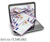 Купить «Ноутбук из которого сыпется бумажная почта, концепция спама, изолированно на белом фоне», иллюстрация № 5540083 (c) Maksym Yemelyanov / Фотобанк Лори