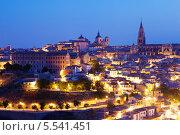 Купить «Пейзаж Толедо с собором в ночное время, Испания», фото № 5541451, снято 23 августа 2013 г. (c) Яков Филимонов / Фотобанк Лори