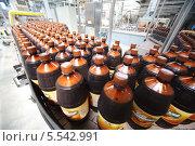 """Купить «Завод """"Очаково"""". Бутылки кваса на конвейере», фото № 5542991, снято 16 мая 2012 г. (c) Losevsky Pavel / Фотобанк Лори"""