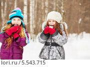 Купить «Две маленькие подружки в зимнем парке едят снежки», фото № 5543715, снято 10 февраля 2013 г. (c) Losevsky Pavel / Фотобанк Лори