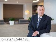 Купить «Бизнесмен в костюме и галстуке стоит рядом со стойкой регистрации», фото № 5544183, снято 14 февраля 2013 г. (c) Losevsky Pavel / Фотобанк Лори