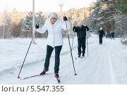 Купить «Люди среднего возраста едут на лыжах по дороге мимо соснового леса», эксклюзивное фото № 5547355, снято 25 января 2014 г. (c) Игорь Низов / Фотобанк Лори