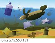 Гибель морских животных. Стоковая иллюстрация, иллюстратор Валентина Шибеко / Фотобанк Лори