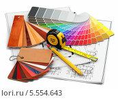 Купить «Дизайн интерьера. Архитектурные материалы, инструменты и чертежи», иллюстрация № 5554643 (c) Maksym Yemelyanov / Фотобанк Лори