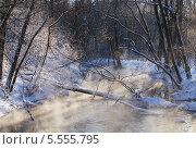 Пар над зимней рекой. Стоковое фото, фотограф Сергей Хаменок / Фотобанк Лори