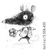 Мышь с апельсинами. Стоковая иллюстрация, иллюстратор Инна Багаева / Фотобанк Лори