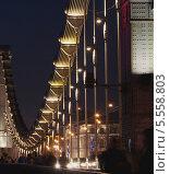 Конструкция моста в ночном освещении (2013 год). Редакционное фото, фотограф Сергей Хаменок / Фотобанк Лори