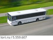 Купить «Автобус едет по дороге», фото № 5559607, снято 19 августа 2012 г. (c) Юрий Бизгаймер / Фотобанк Лори
