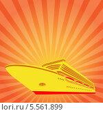 Круизный лайнер на фоне с лучами. Стоковая иллюстрация, иллюстратор Alioshin.aleksey / Фотобанк Лори