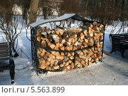 Купить «Поленница с березовыми дровами», эксклюзивное фото № 5563899, снято 19 января 2014 г. (c) Щеголева Ольга / Фотобанк Лори