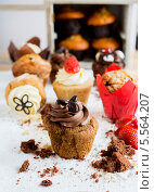 Купить «много кексов с разными топингами», фото № 5564207, снято 20 февраля 2013 г. (c) Food And Drink Photos / Фотобанк Лори