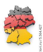 Купить «Трехмерная карта Германии, окрашенная в цвет флага Германии», иллюстрация № 5564427 (c) Maksym Yemelyanov / Фотобанк Лори