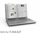 Купить «Ноутбук с газетой вместо экрана», иллюстрация № 5564627 (c) Maksym Yemelyanov / Фотобанк Лори