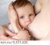 Купить «Женщина кормит ребенка грудью», фото № 5571035, снято 27 марта 2012 г. (c) Ирина Борсученко / Фотобанк Лори