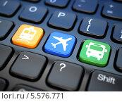 Купить «Онлайн бронирование билетов на поезд, автобус или самолет. Клавиатура ноутбука», иллюстрация № 5576771 (c) Maksym Yemelyanov / Фотобанк Лори
