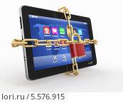 Купить «Защита данных. Планшет перевязанный цепью с замком», иллюстрация № 5576915 (c) Maksym Yemelyanov / Фотобанк Лори
