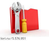 Красная офисная папка с рабочими инструментами на белом фоне. Стоковая иллюстрация, иллюстратор Maksym Yemelyanov / Фотобанк Лори